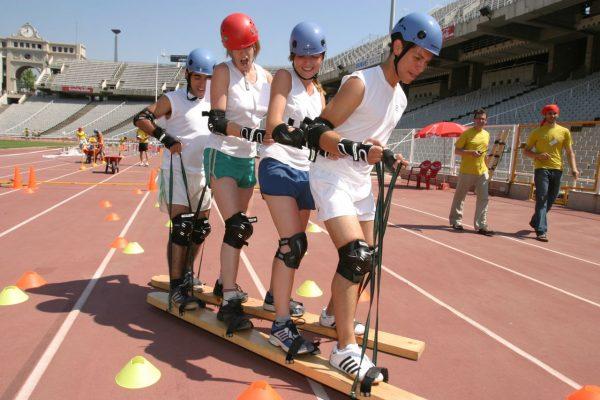 Human logoSki boots Team building Olympic Stadium barcelona