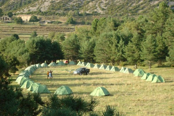 Outdoor conference Campsite set up Pyrenees