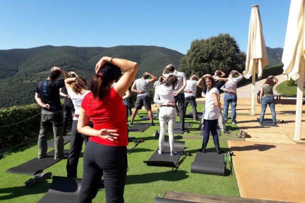 Outdoor meeting Garraf natural park wellness