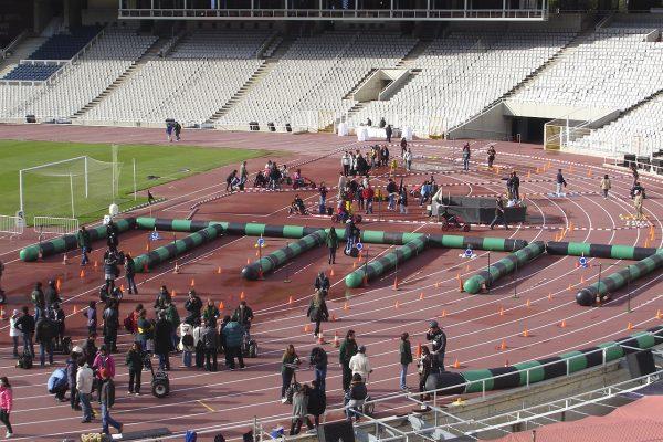 Human logo outdoor event barcelona olympic stadium